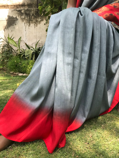 Grey & Red Matka Georgette Palla Saree