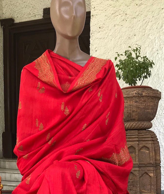 Hibiscus Red Matka Georgette Border Booti Saree