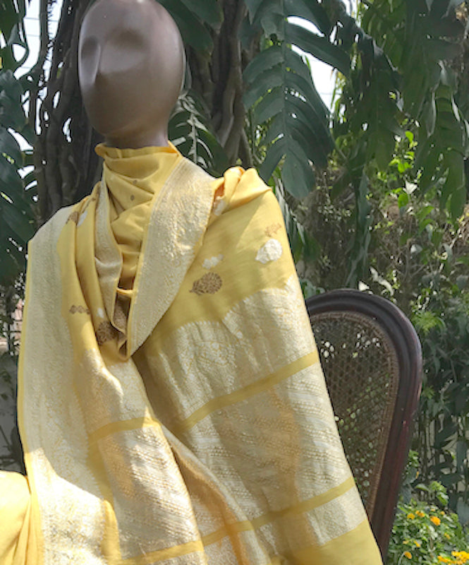 Amaya Sandalwood Yellow Matka Georgette Saree