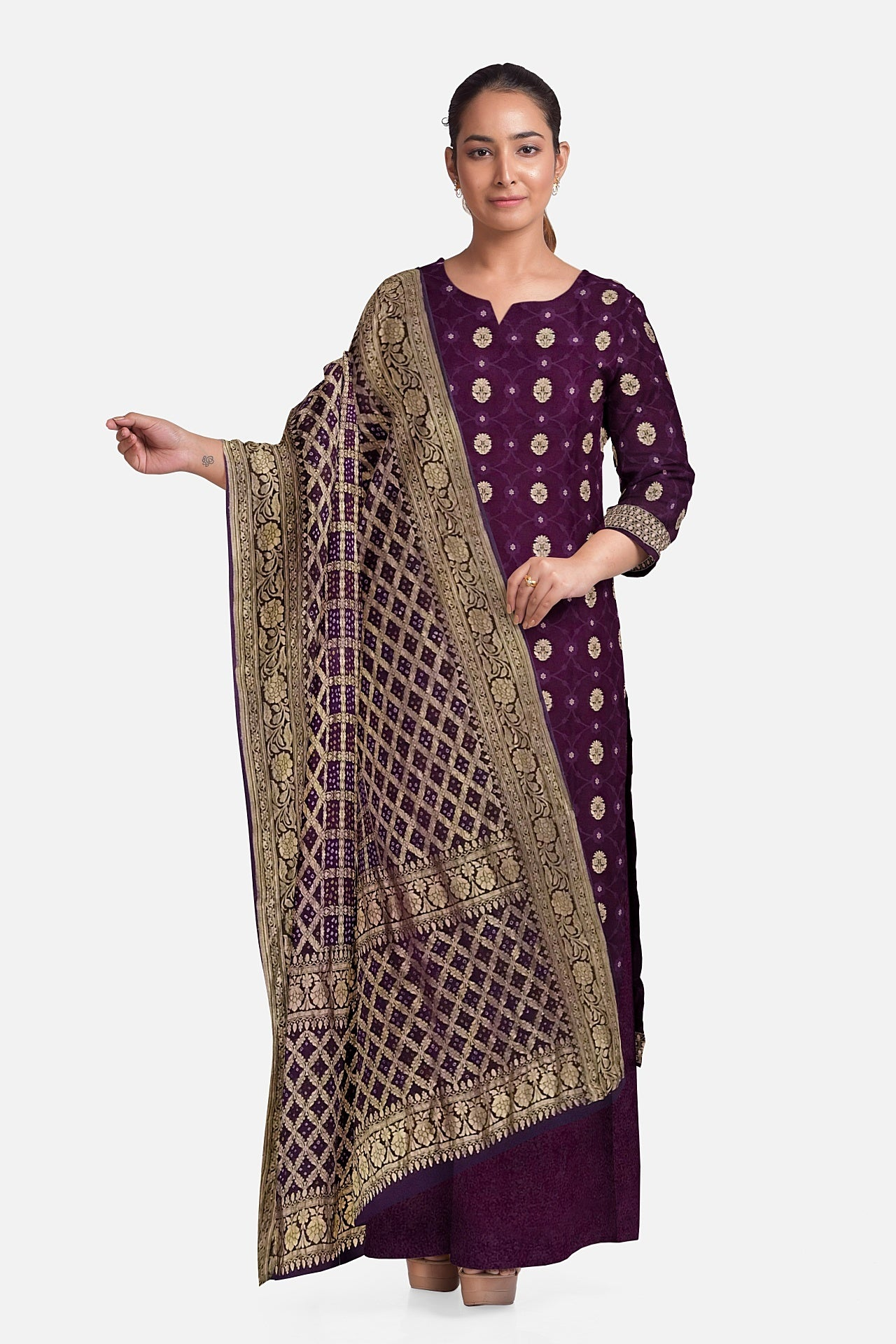 Purple Bandhani Suit Fabric Set (Set of 3)