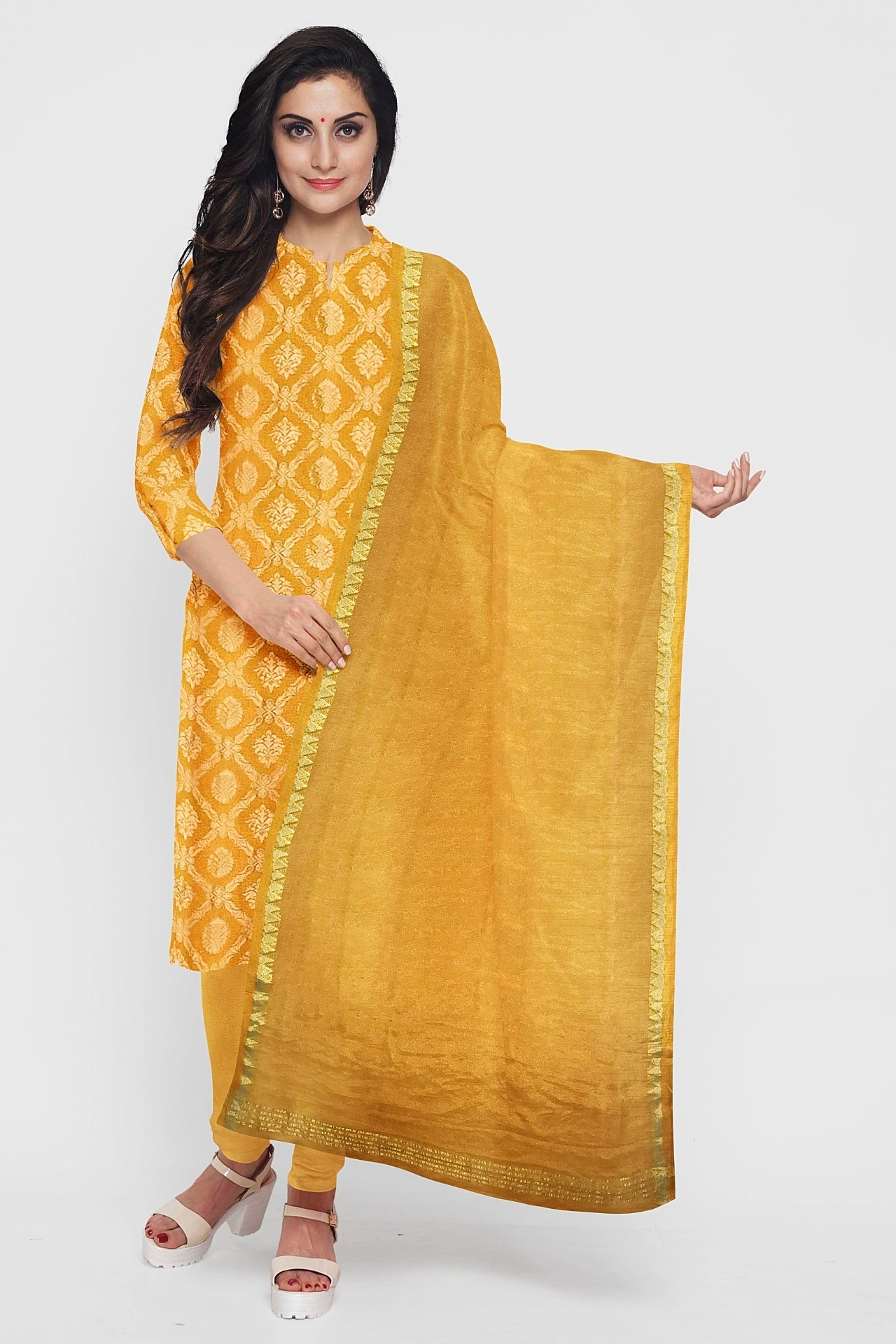 Saffron Yellow Georgette Suit Fabric Set (Set of 3)