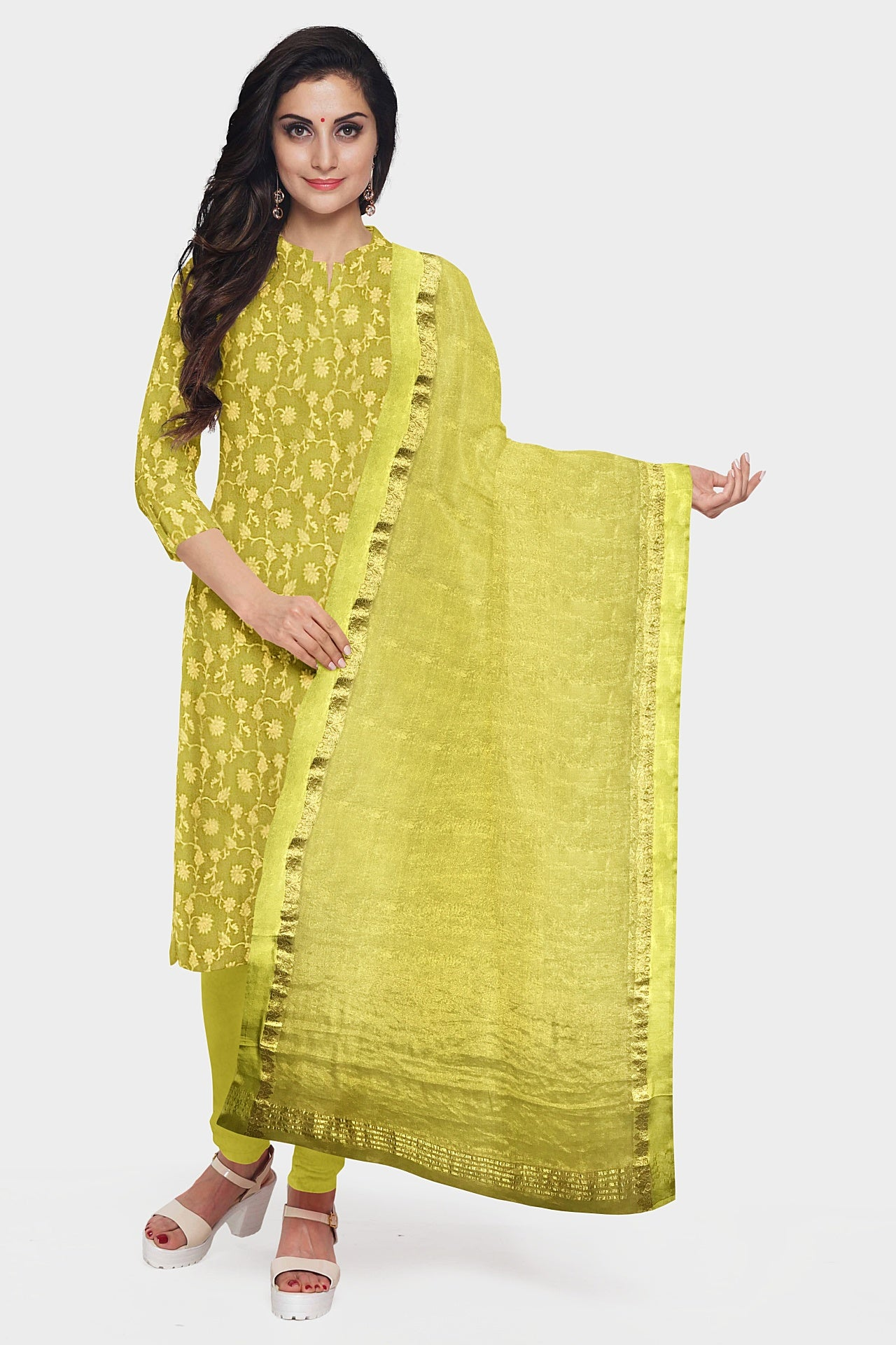 Lime Green Georgette Suit Fabric Set (Set of 3)