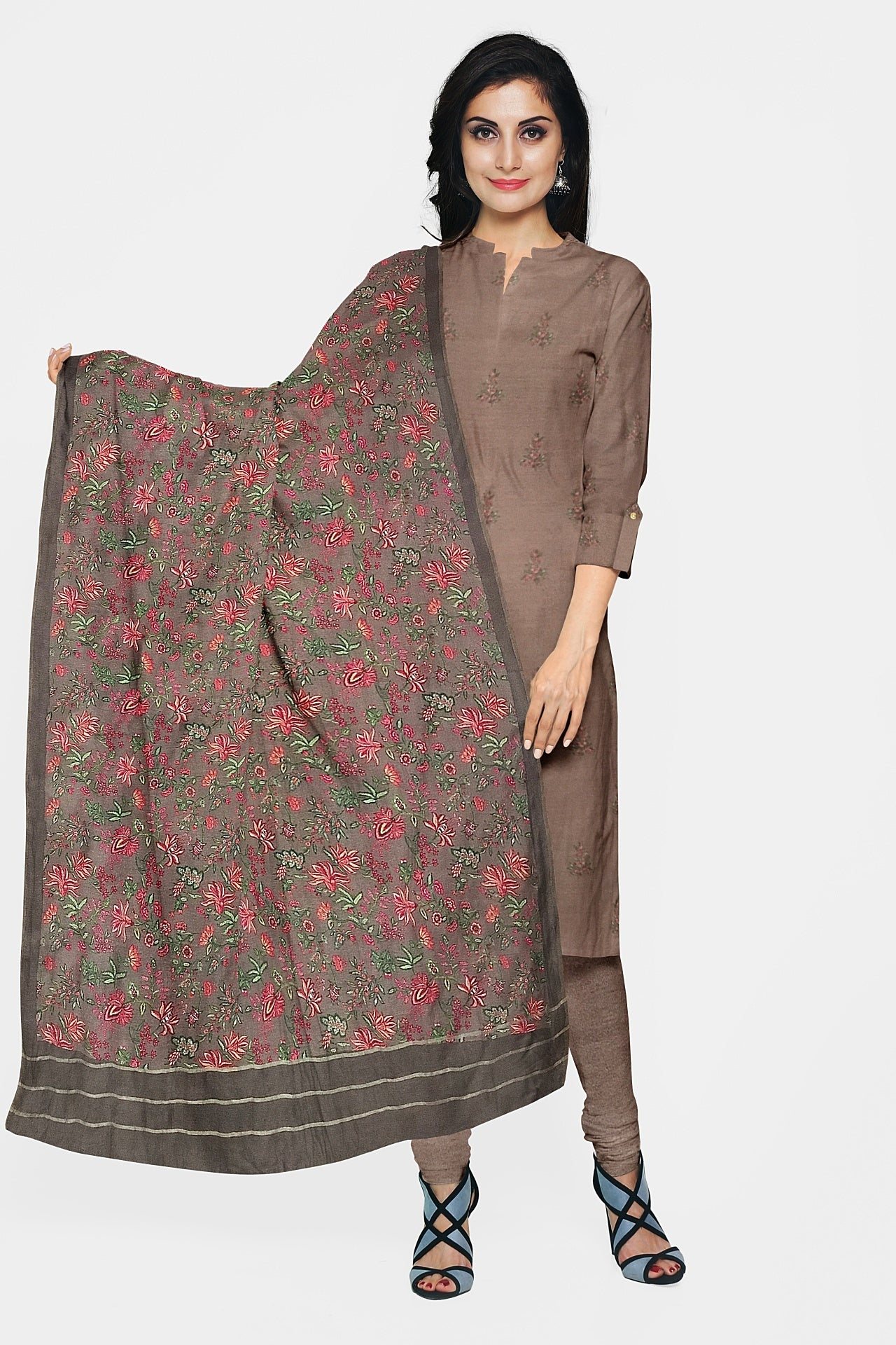 Mocha Brown Cotton Pashmina Suit Fabric Set (Set of 3)