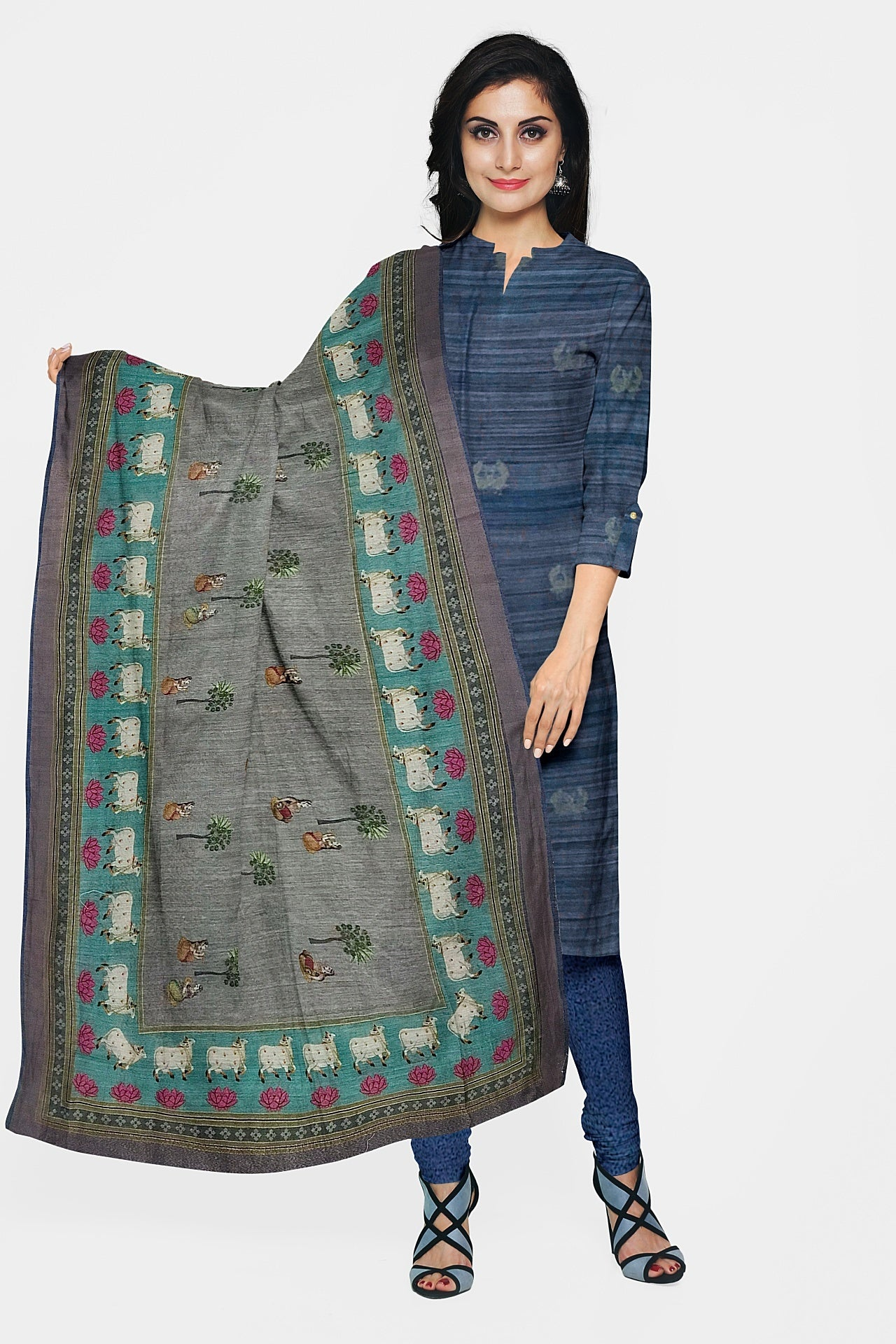 Denim Blue Khadi Matka Suit Fabric Set (Set of 3)