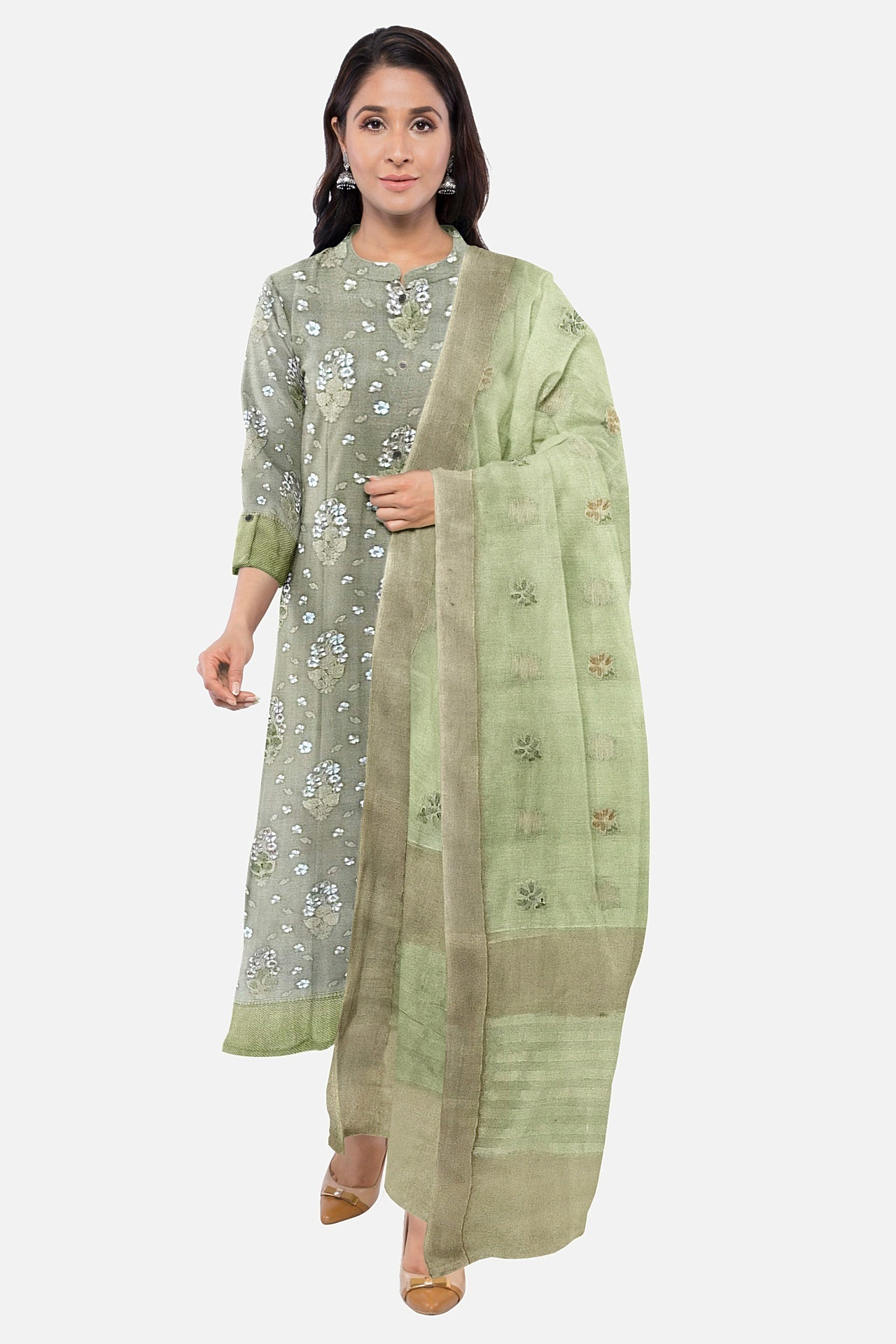 Pista Green Cotton Chanderi Suit Fabric Set (Set of 3)