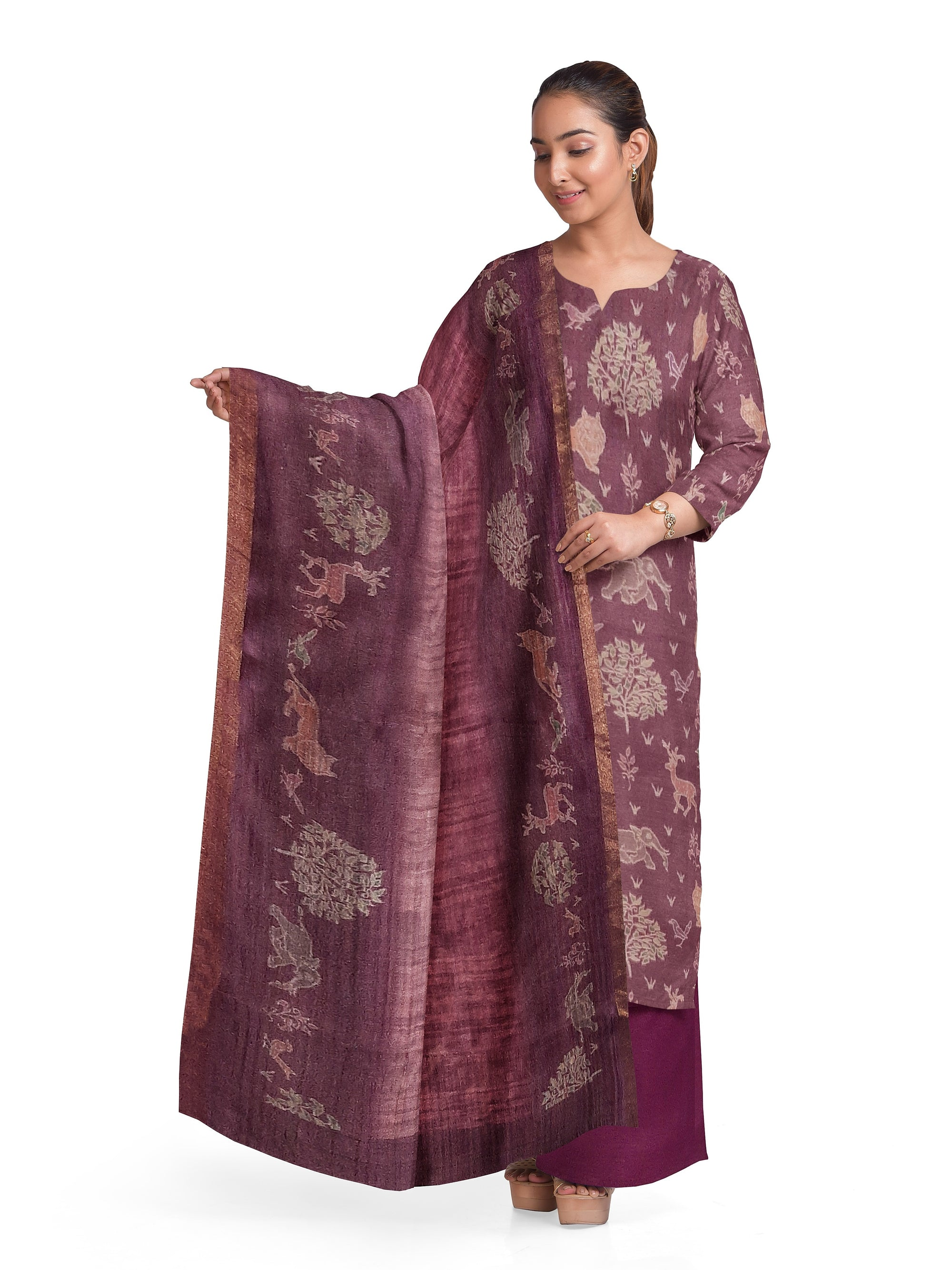 Burgundy Cotton Pashmina Suit Fabric Set (Set of 3)