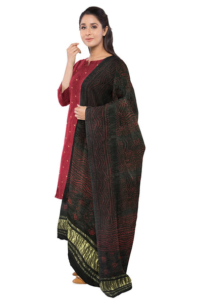 Black Ruby Red Bandhani Suit Fabric Set (Set of 3)