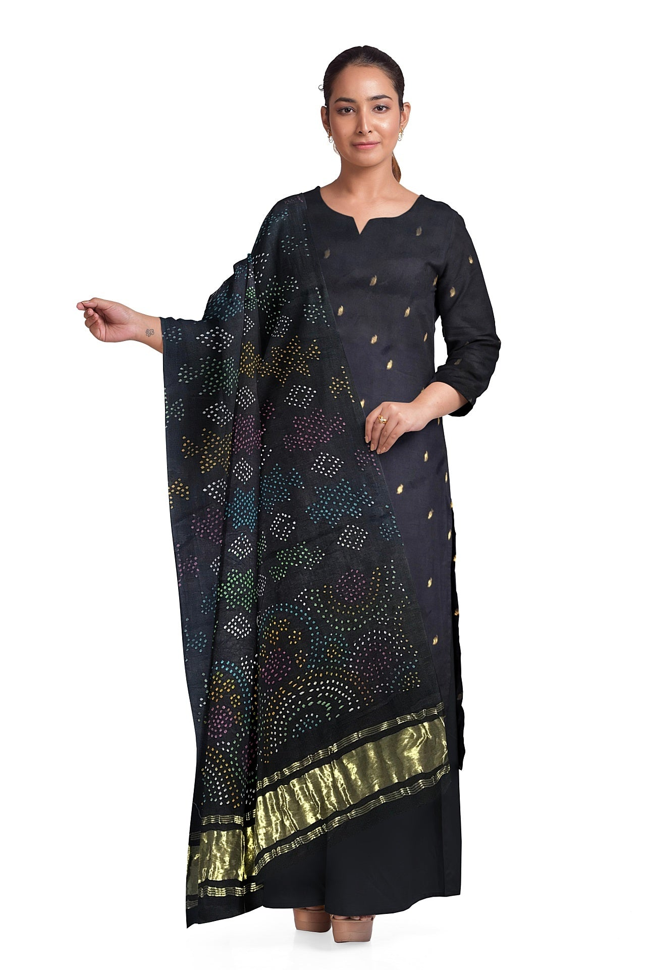 Midnight Blue Bandhani Suit Fabric Set (Set of 3)