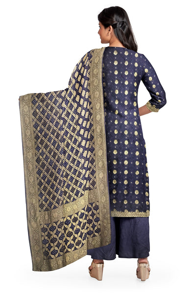 Navy Blue Bandhani Suit Fabric Set (Set of 3)