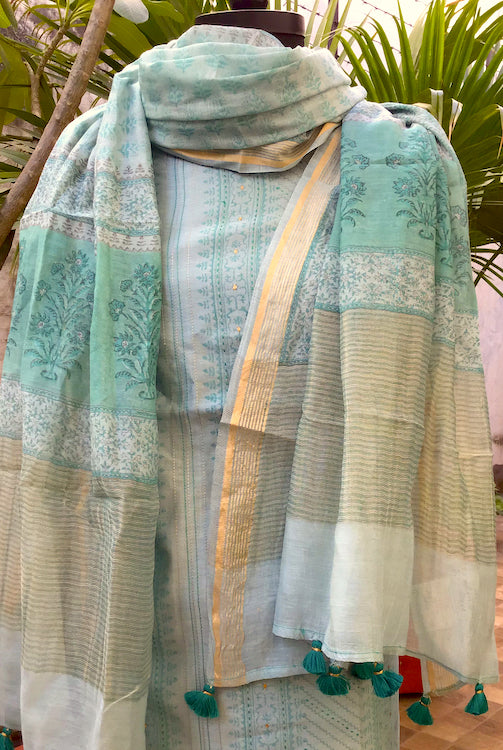 Aqua Blue Kantha Chanderi Cotton Suit Fabric Set
