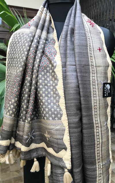 Ash Grey Tussar Silk Suzani Saree