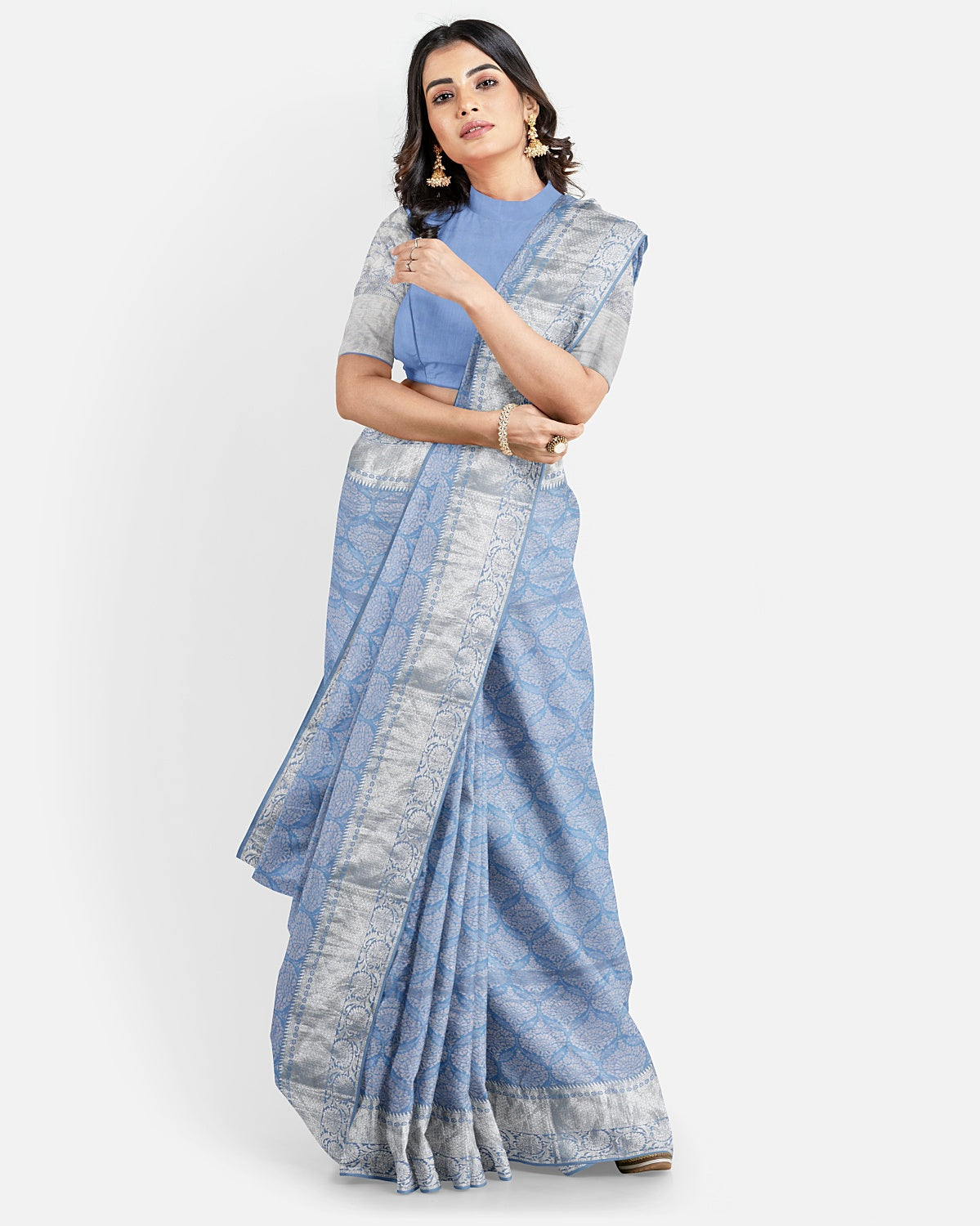 Aster Blue Silk Tissue Brocade Saree