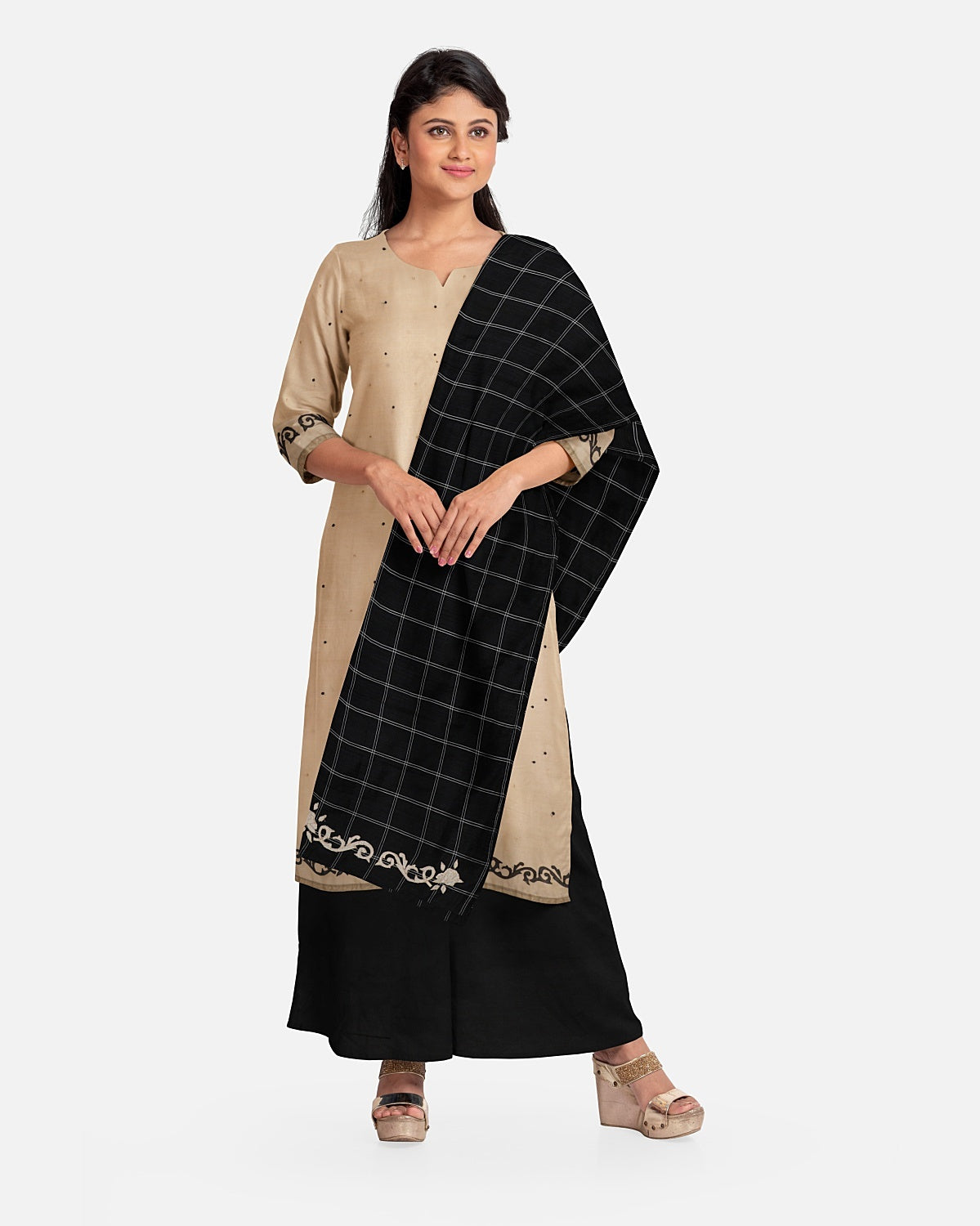 Beige & Black Check Cotton Suit Fabric Set