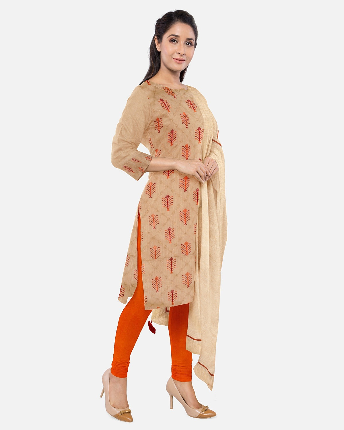 Gold Beige Embroidered Raw Silk Suit Fabric Set