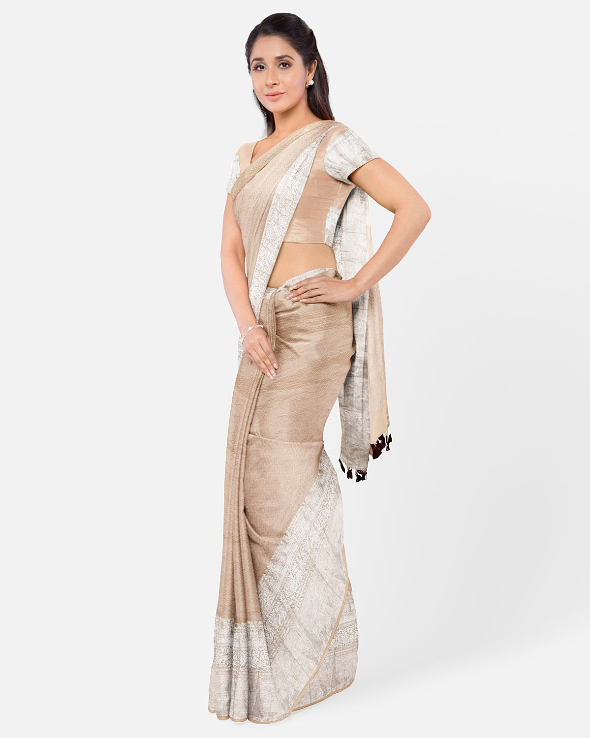 Beige Silk Tissue Brocade Saree