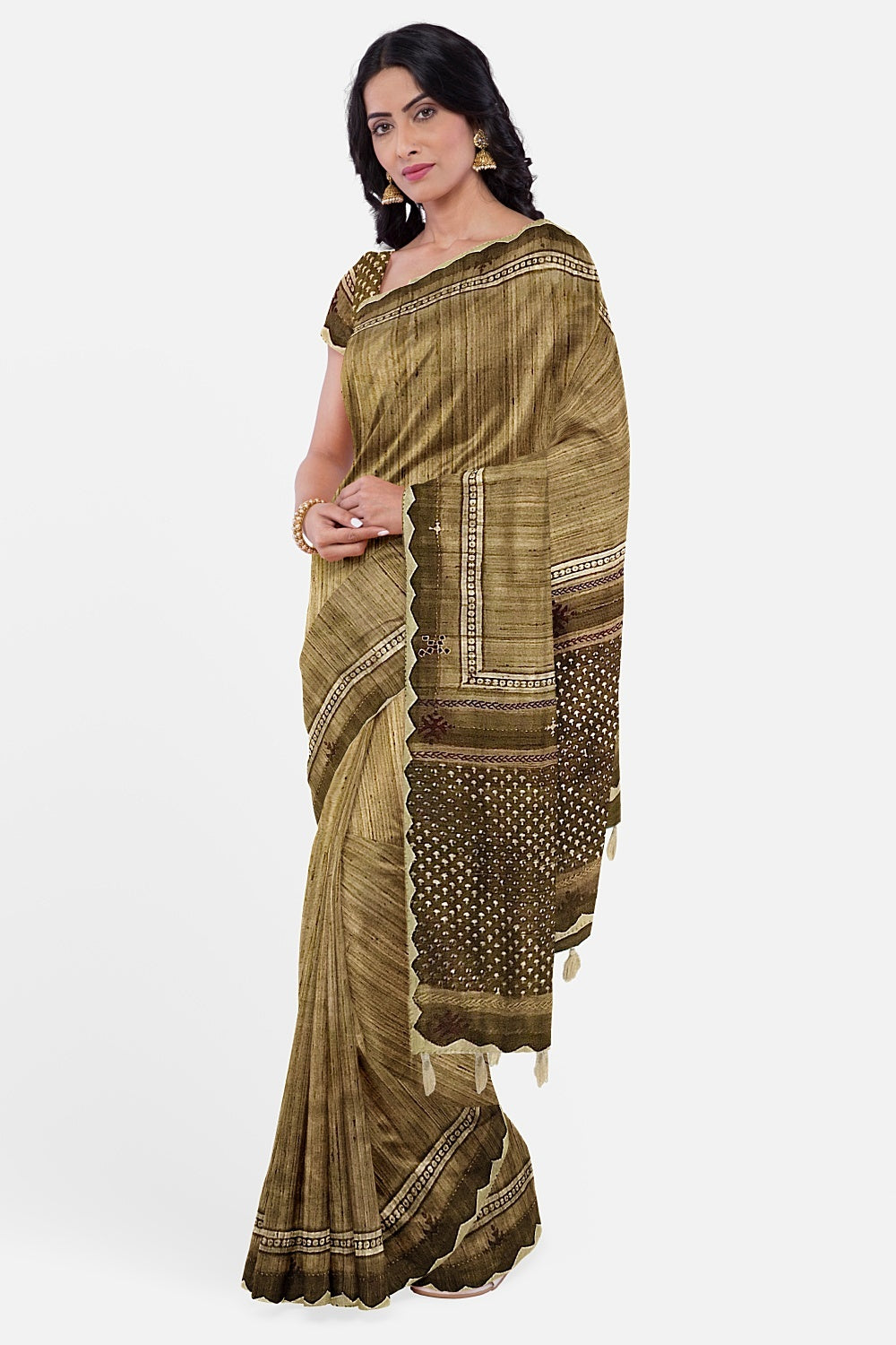 Coffee Brown Matka Tussar Sujini Saree