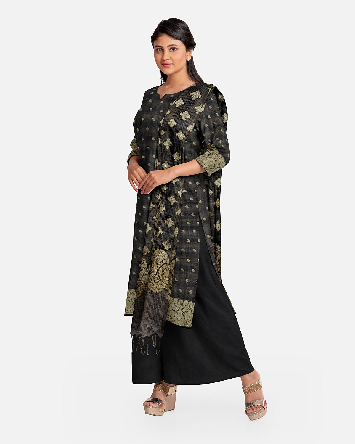 Charcoal Black  & Gold Cotton Suit Fabric Set