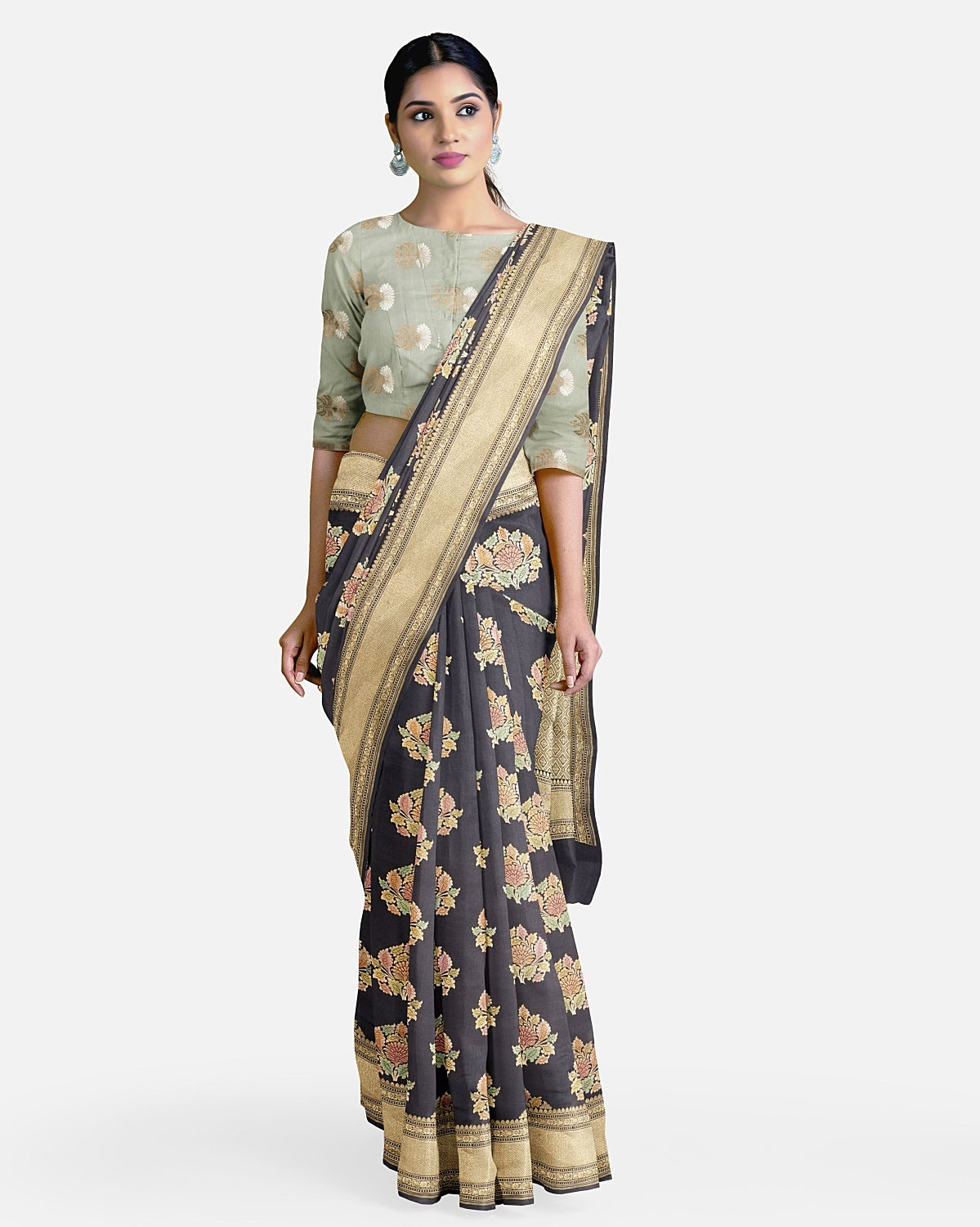Charcoal Black Moonga Silk Saree