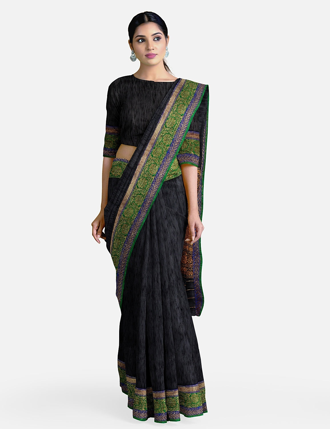 Black Dupion Silk Saree