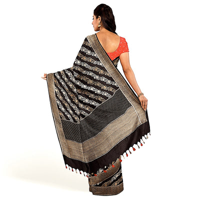 Black Kadhwa Silk Saree