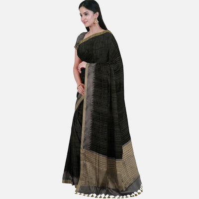 Black & Grey Tussar Saree