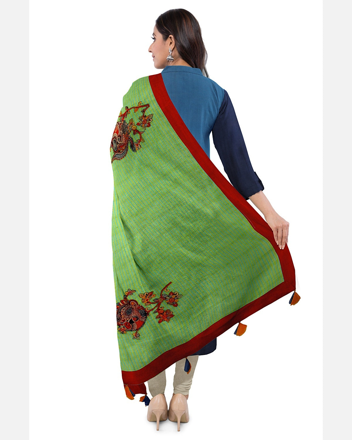 Blue  & Green Cotton Kalamkari Suit Fabric Set