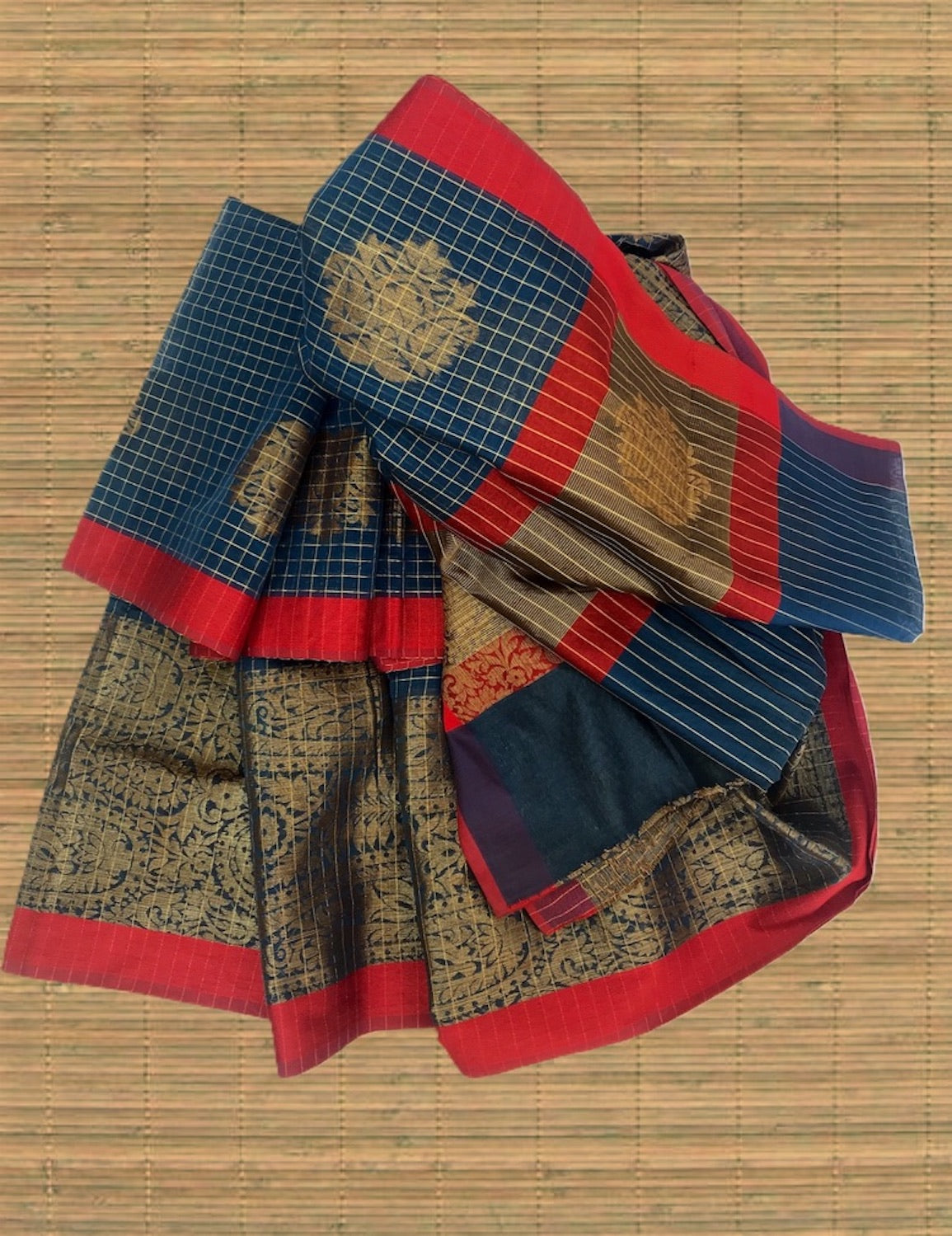 Blue Check Cotton Saree
