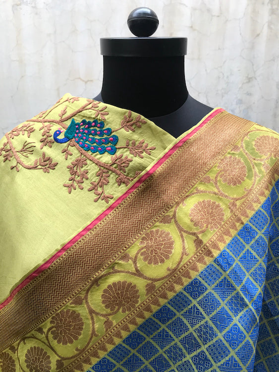 Blue & Lime Green Organza Tanchoi Saree