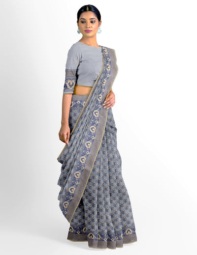 Grey Cotton Cutwork Saree