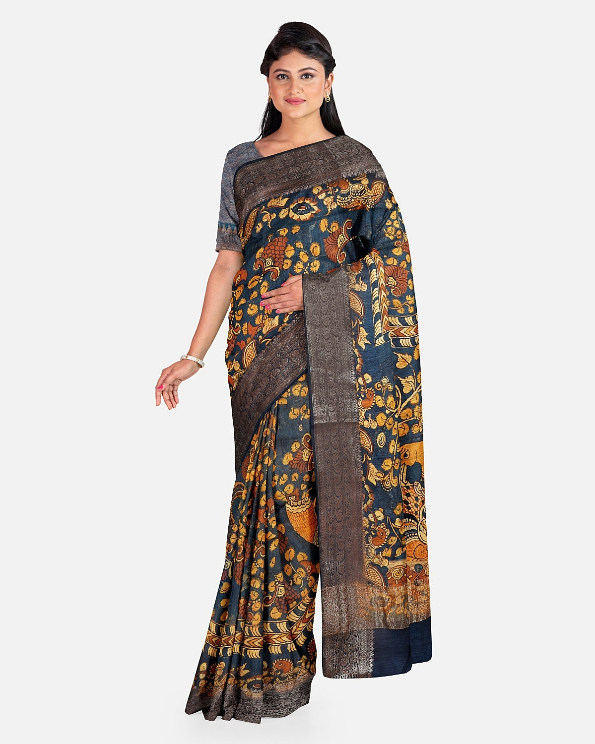 Blue Moonga Cotton Kalamkari Saree