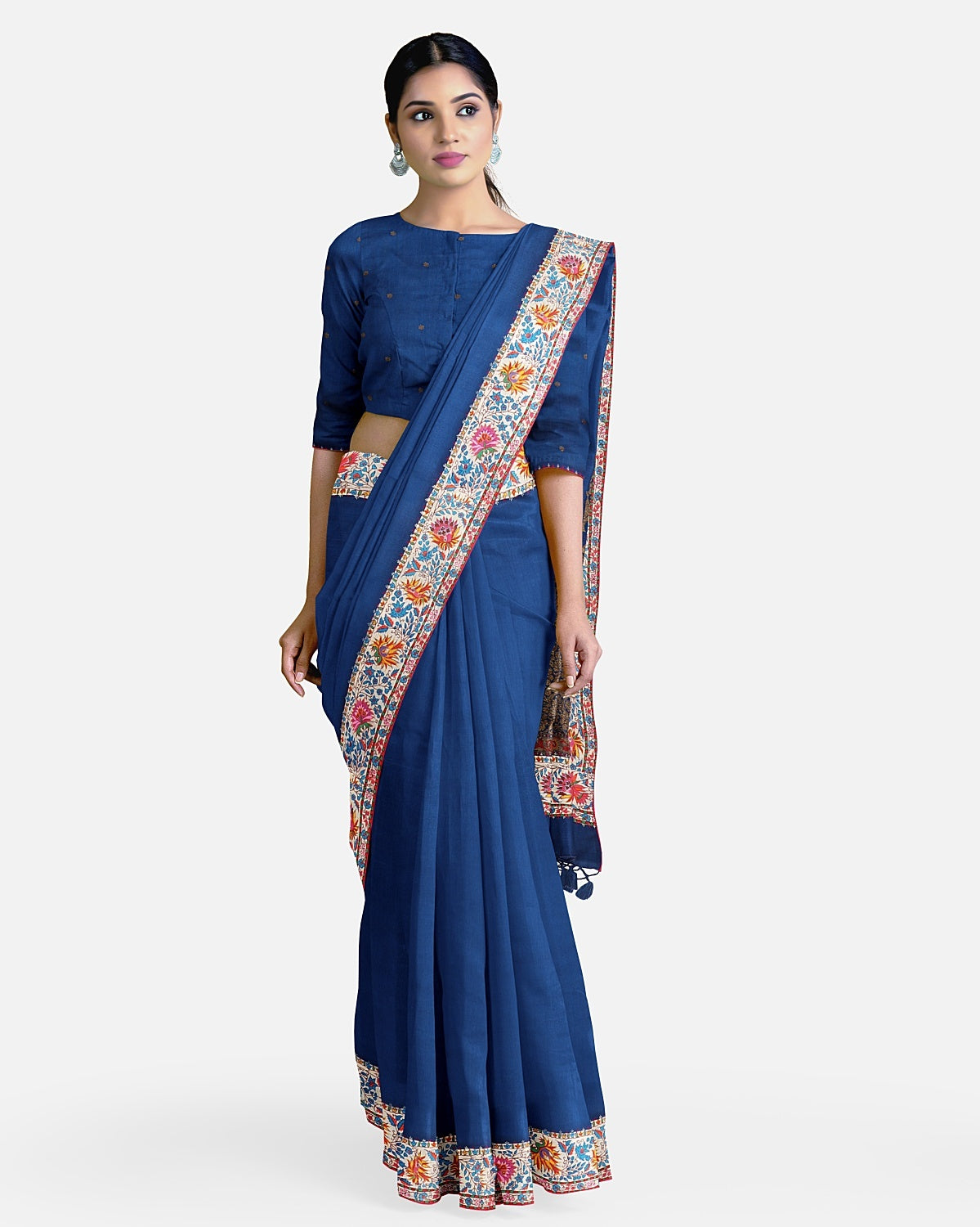 Navy Blue Matka Georgette Kashmiri Saree