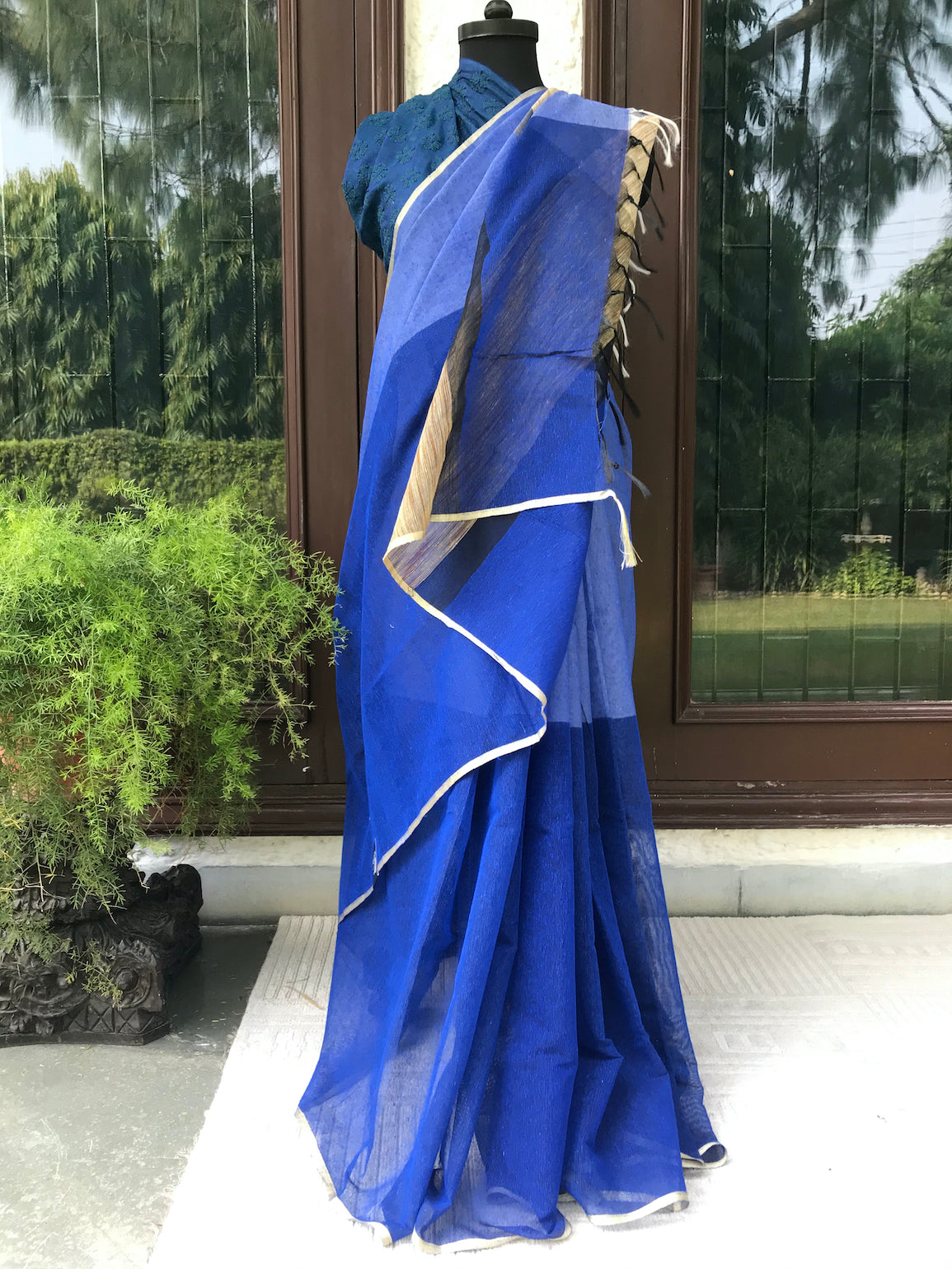 Blue Khadi Net Saree