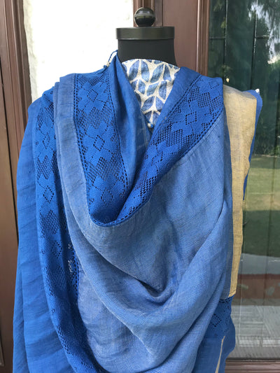 Indigo Blue Lace Linen Saree