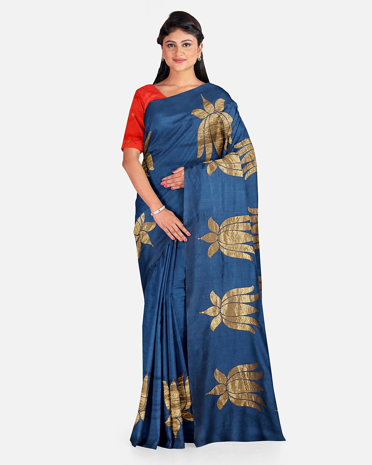 Navy Blue Matka Georgette Lotus Saree