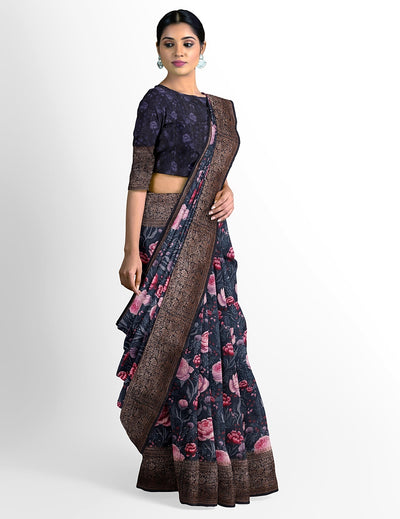 Navy blue Silk Dupion Saree