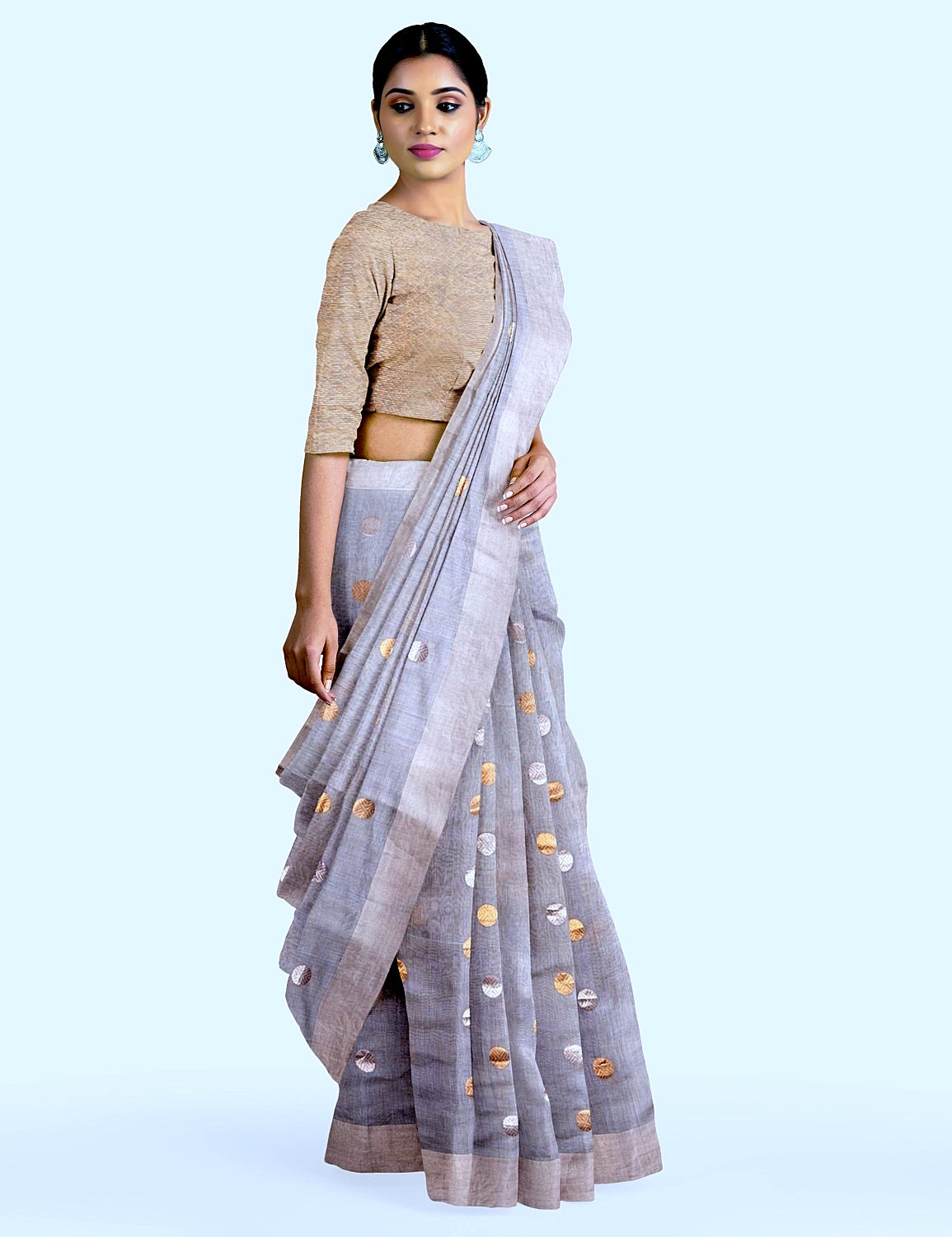 Sky Blue Polka Tissue Saree