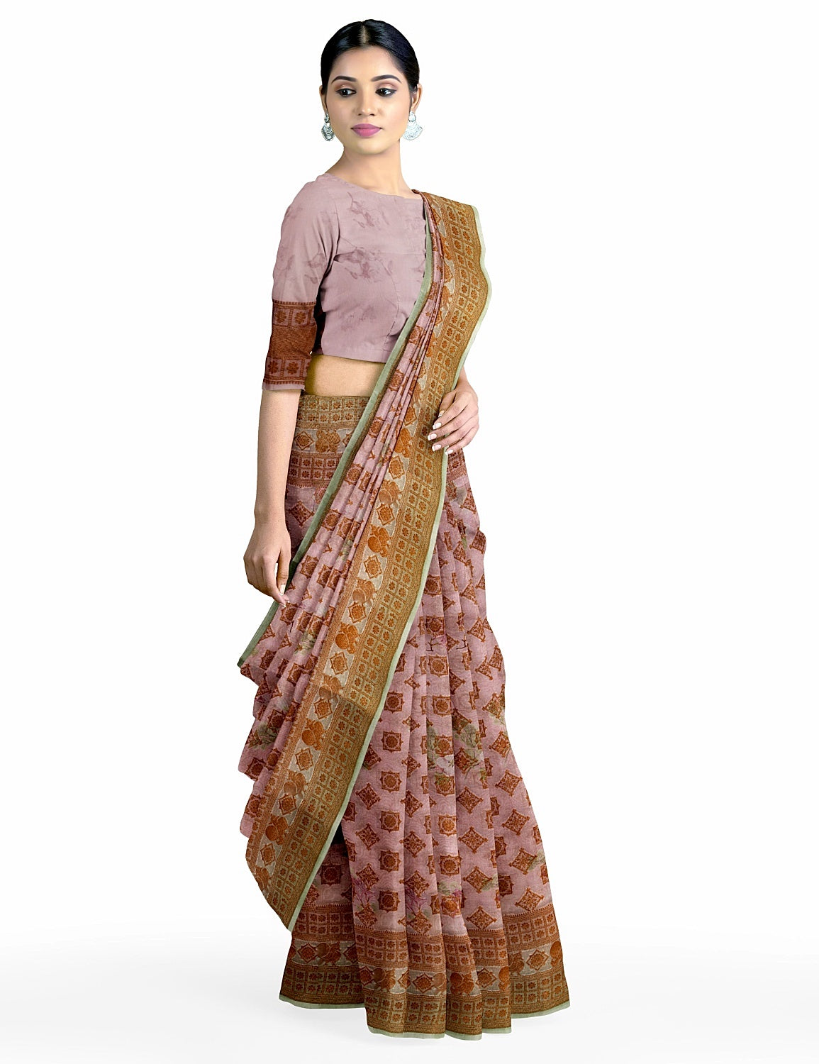 Peach Printed Organza Saree