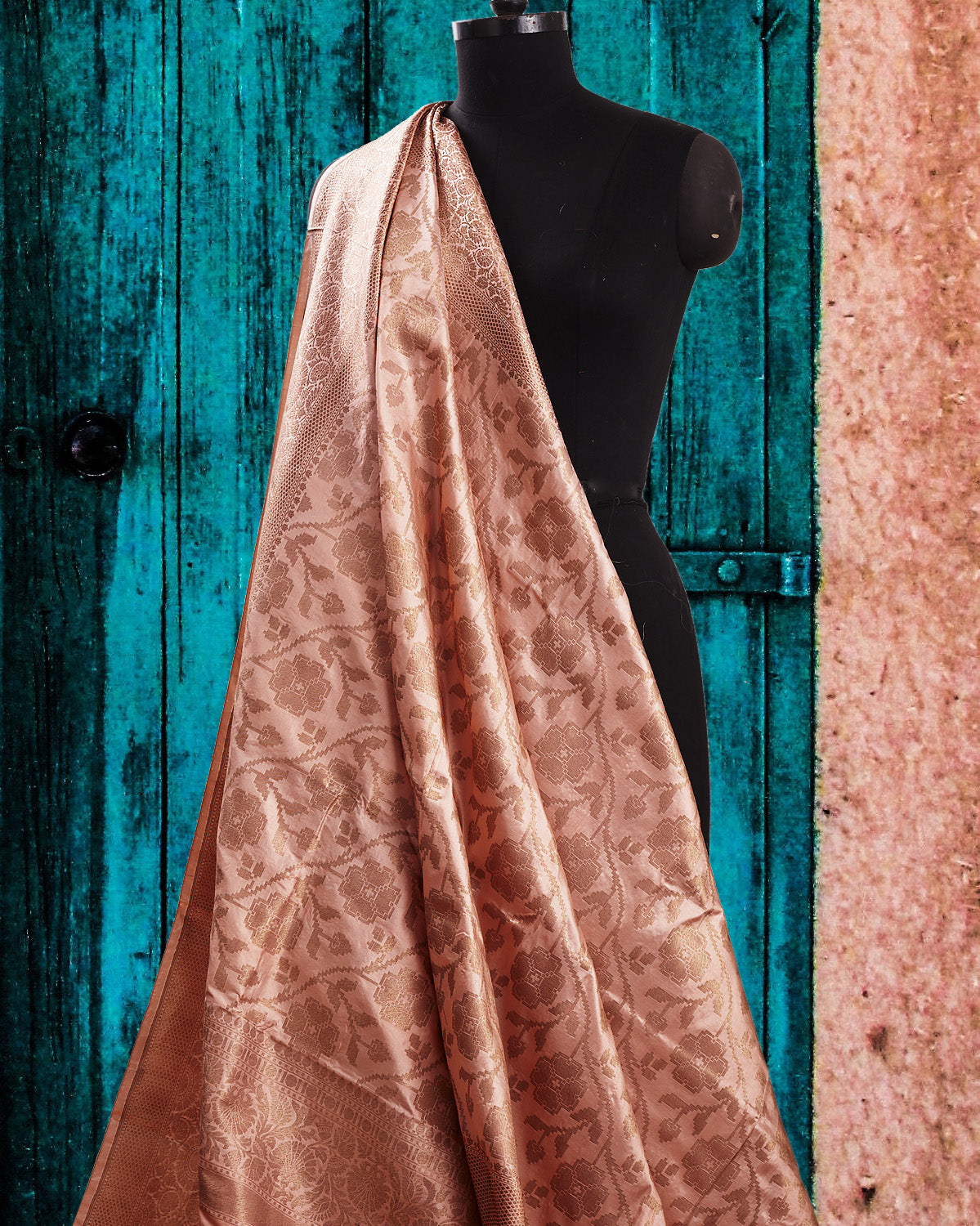 Nouvelle Blush Peach Katan Silk Saree