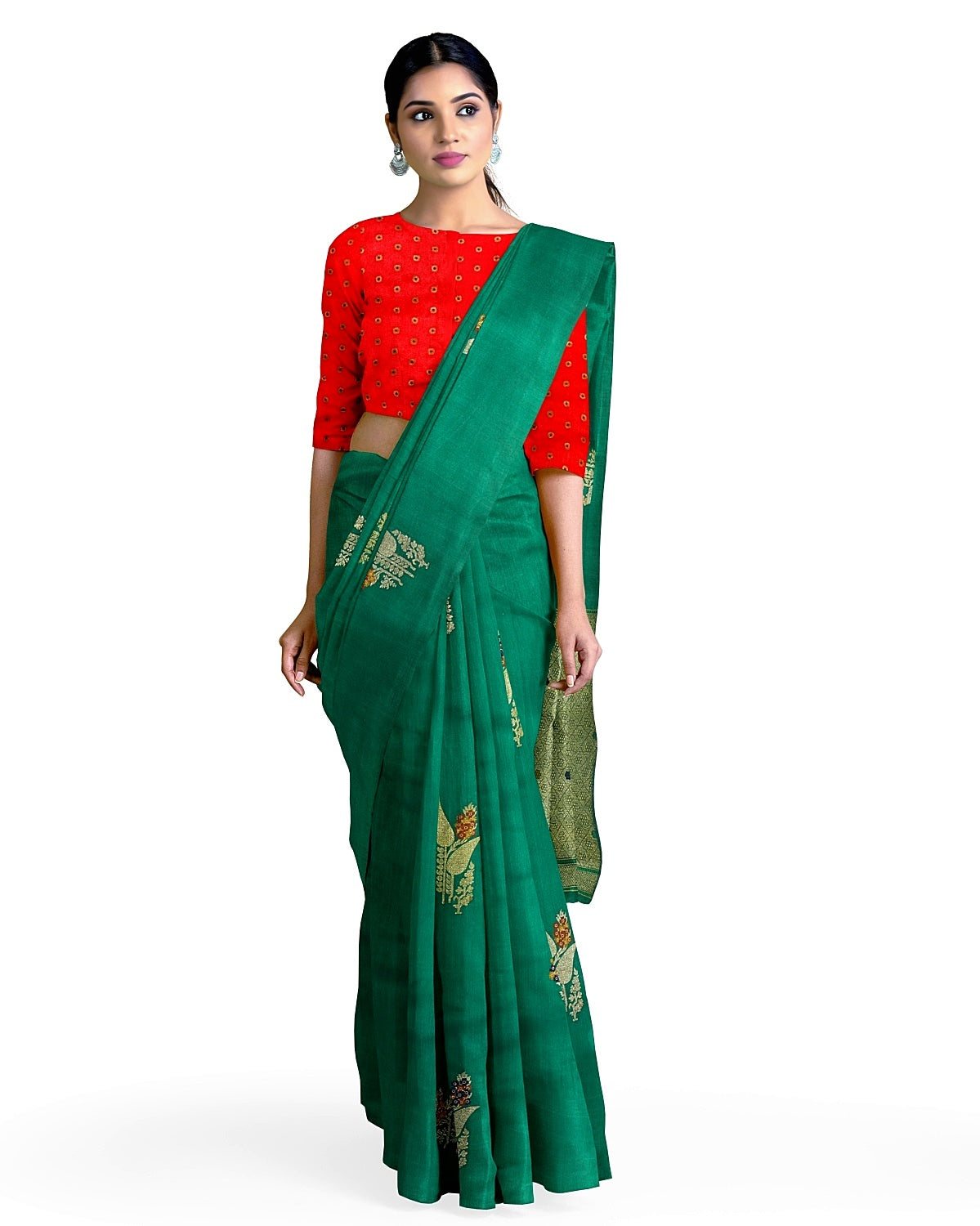 Bottle Green Matka Georgette Booti Saree
