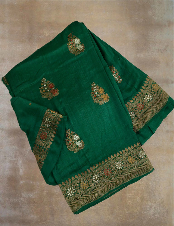 Bottle Green Matka Georgette Saree