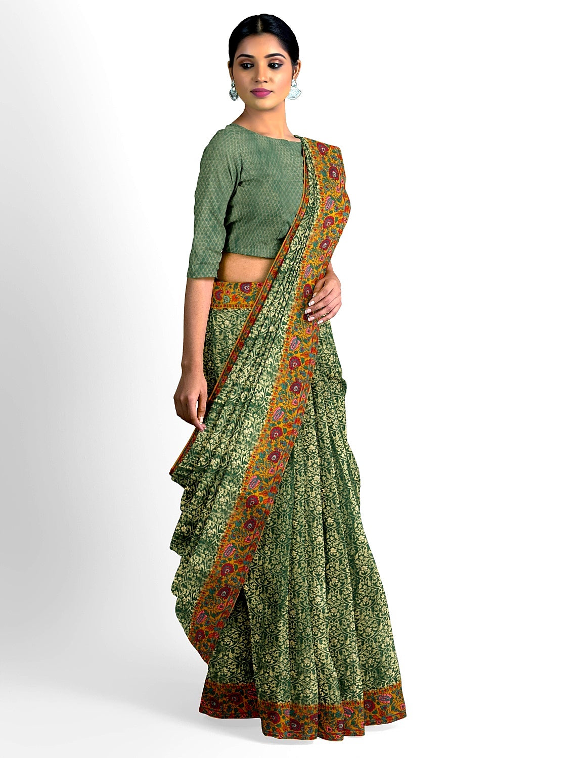 Bottle green Kashmiri Georgette Saree