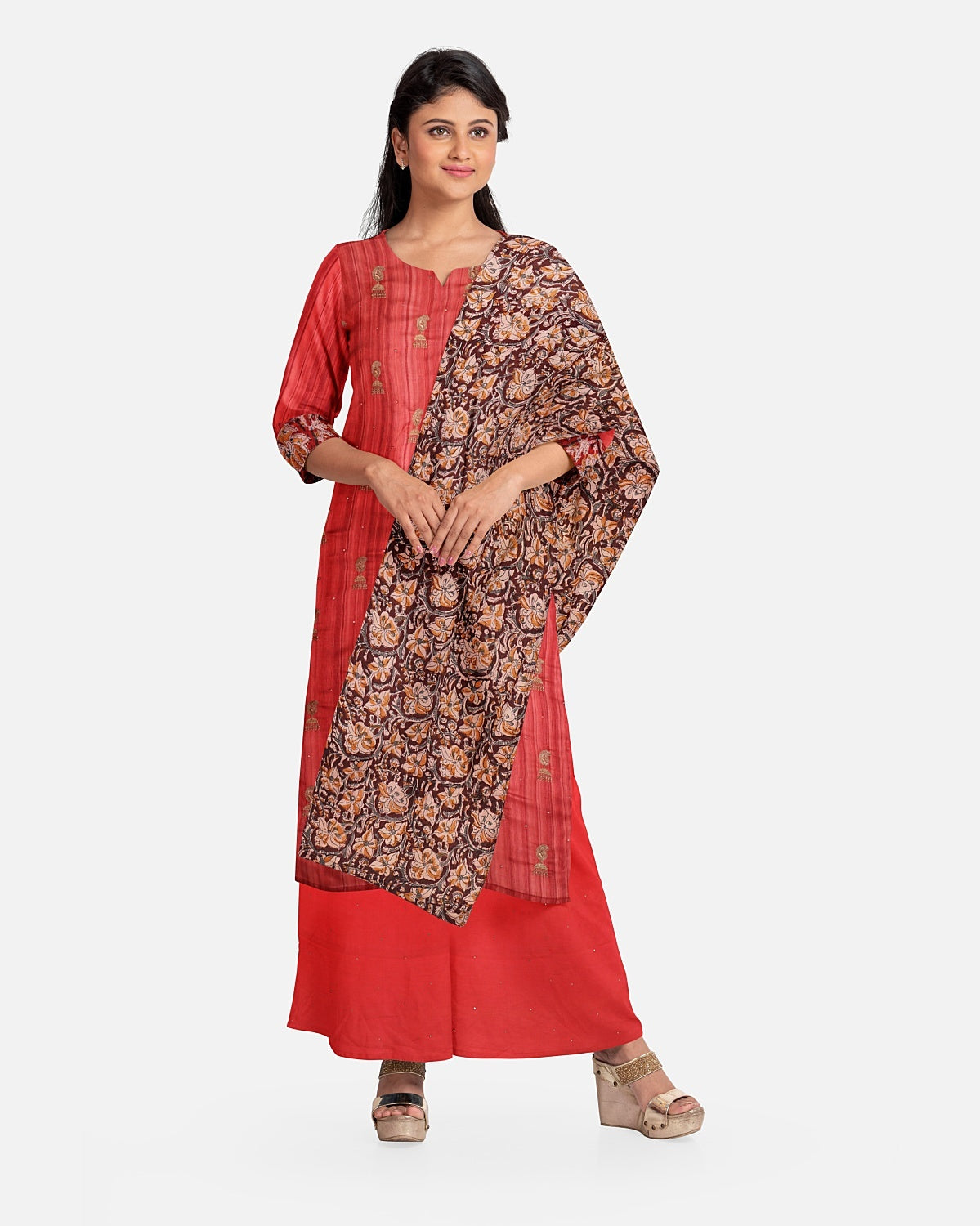Brick Red Embroidered Raw Silk Suit Fabric Set