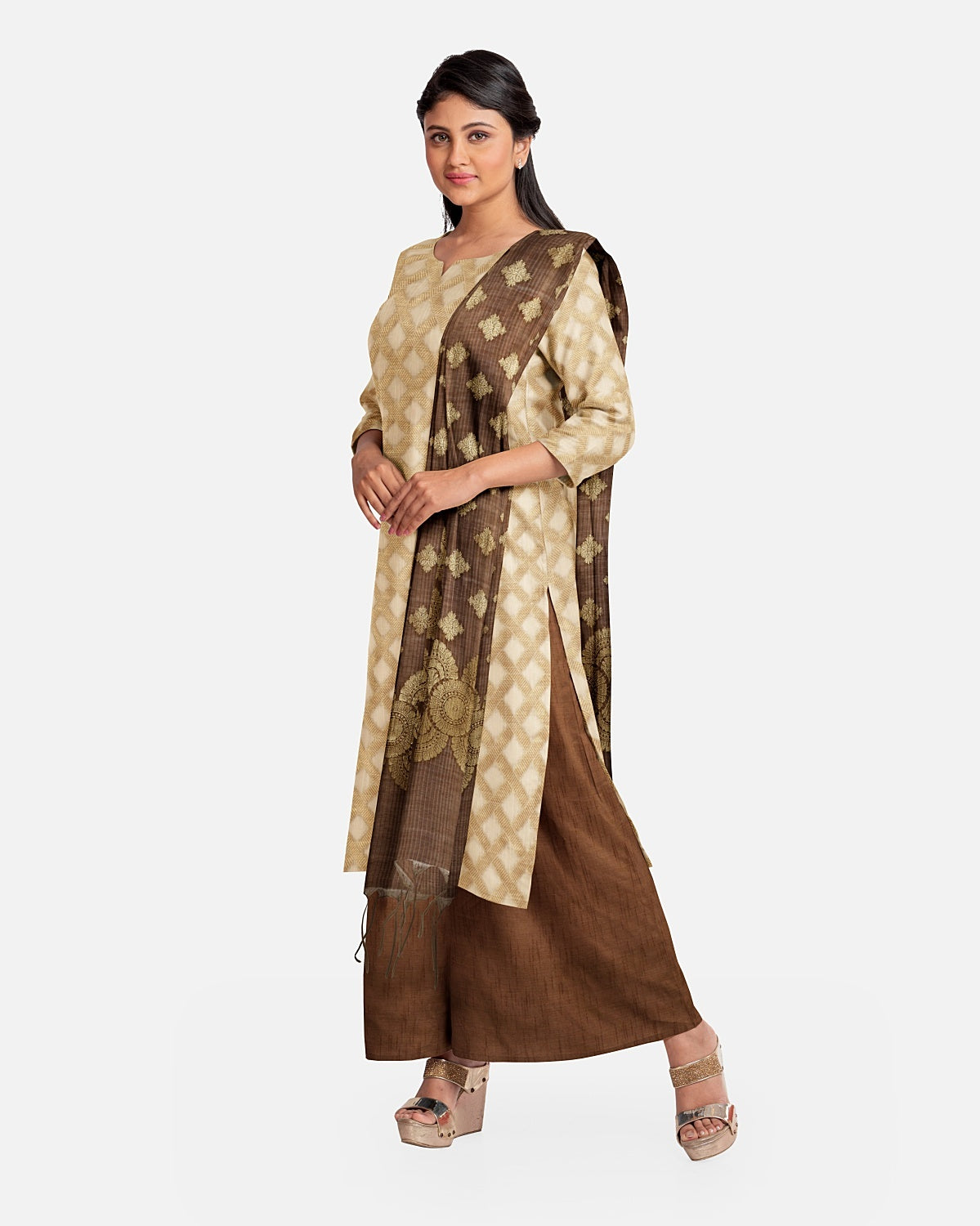 Chestnut Brown  & Gold Cotton Suit Fabric Set