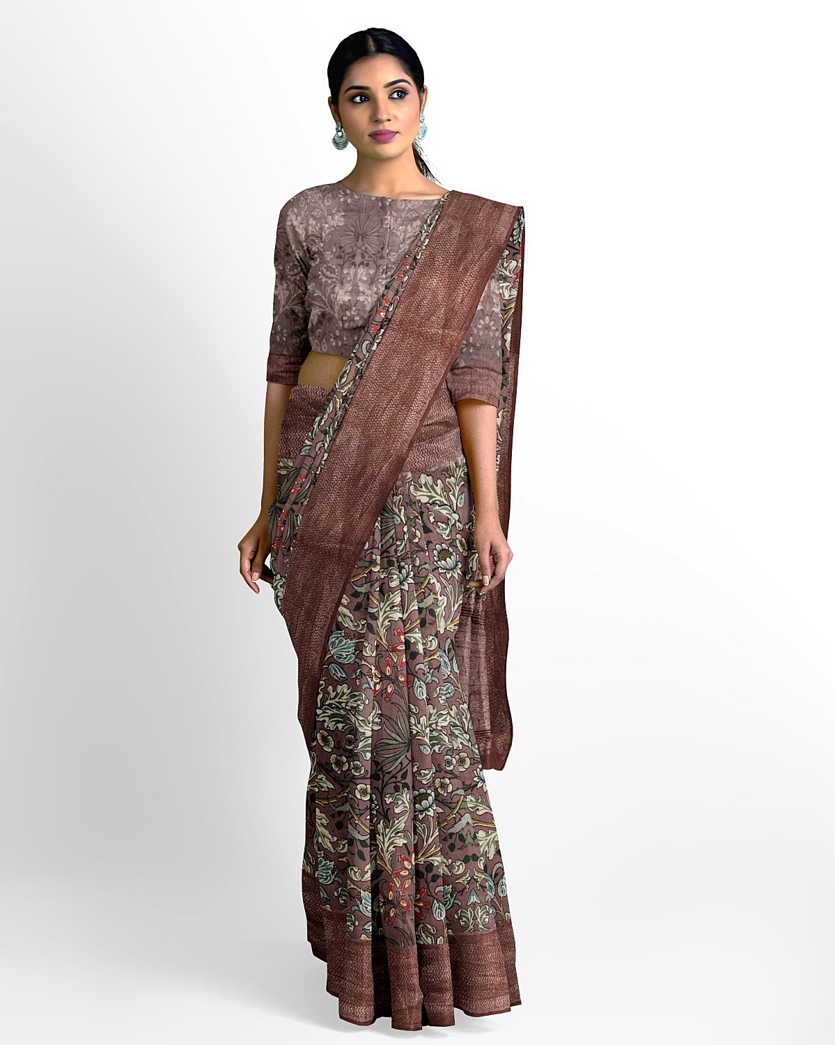 Brown Dupion Silk Saree