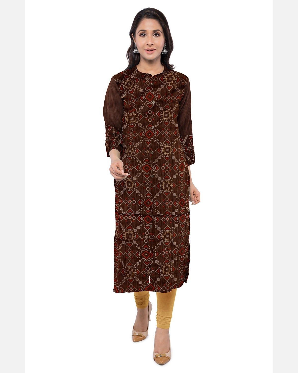 Chocolate Brown Embroidered Raw Silk Suit Fabric Set