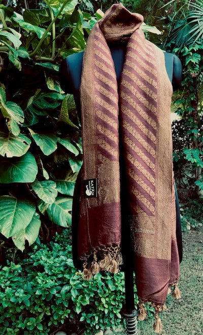 Brown Silk Matka Stole