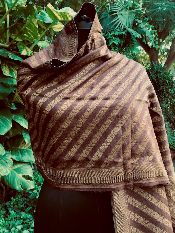Brown Matka Georgette Stole