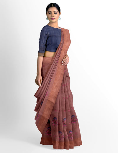 Chikoo Brown Supernet Cotton Saree