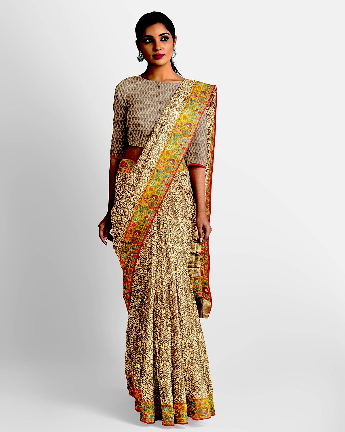 Brown Kashmiri Border Georgette Saree
