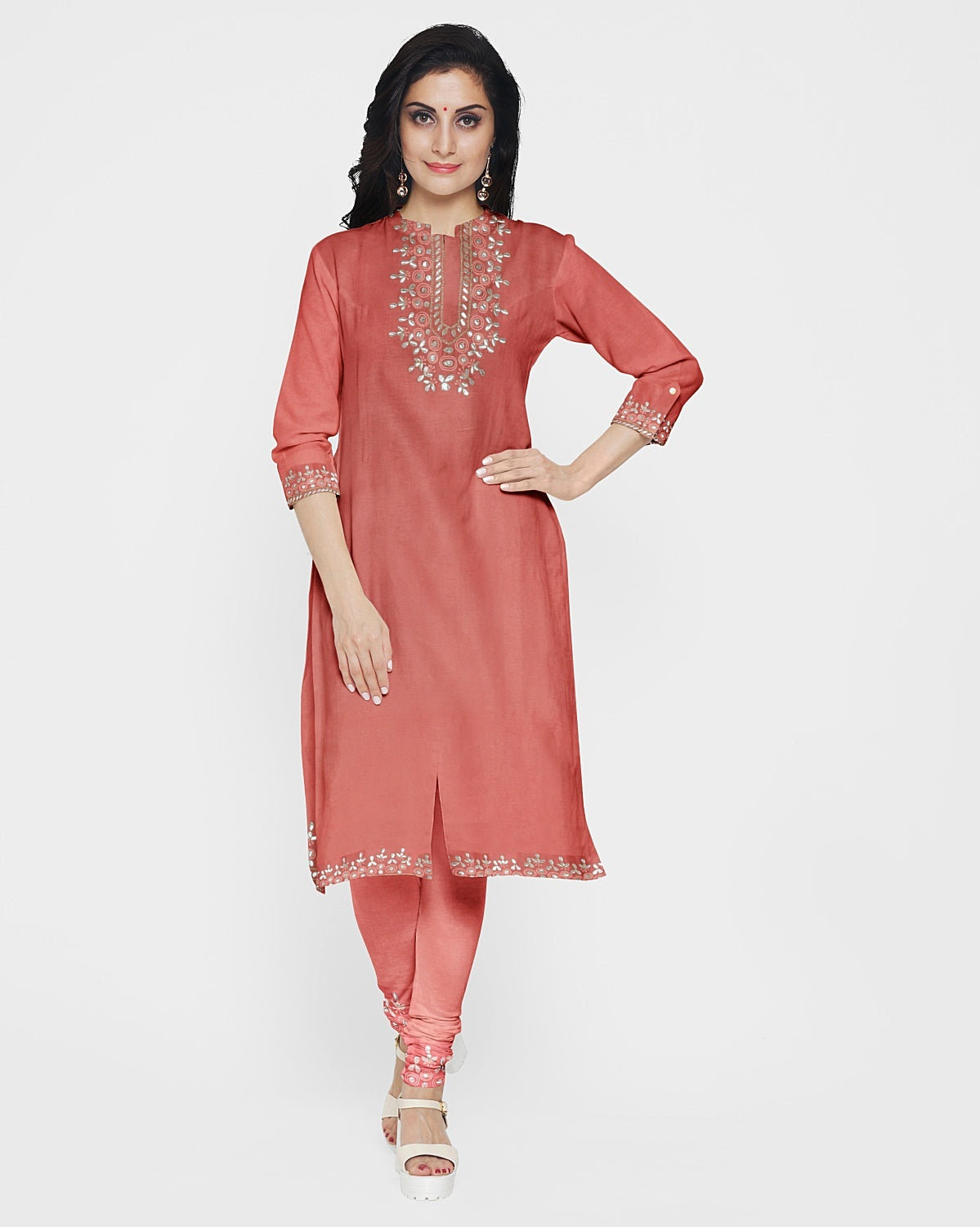 Coral & Peach Gota Patti Suit Fabric Set